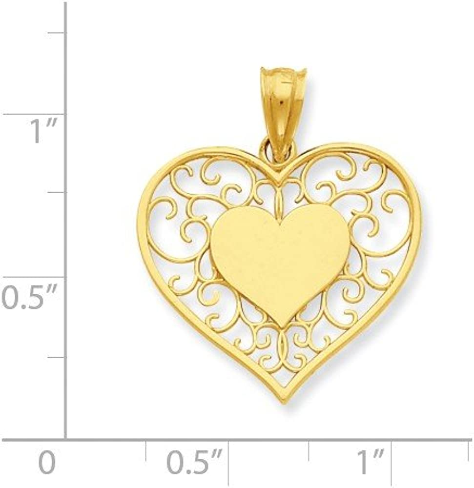 Silver Yellow Plated Heart Charm 19mm
