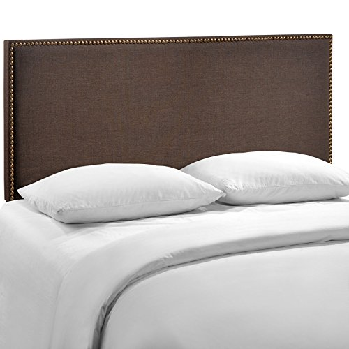 Modway Region Linen Fabric Upholstered Queen Headboard in Dark Brown with Nailhead Trim