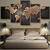 Haihuic 5 Panels Wall Art Oil Painting World Map Picture Prints on PVC, Modern Giclee Artwork Without Frame for Home Decoration Unframed