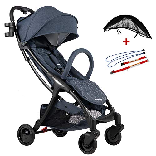 Compact Stroller 2020 Ultra Lightweight Baby Stroller + Universal Mosquito Net + Universal Car Seat Adapter Blude Jeans & Black