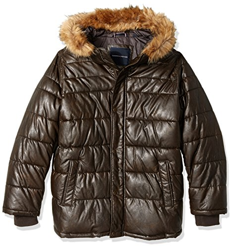 Tommy Hilfiger Men's Big Quilted Faux Leather Parka with Removable Faux Fur Trimmed Hood, Saddle, 2X ()