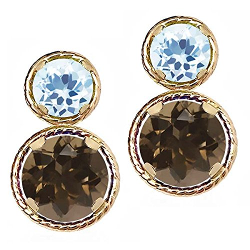 (Gem Stone King 2.26 Ct Round Brown Smoky Quartz Sky Blue Topaz 14K Yellow Gold Earrings)