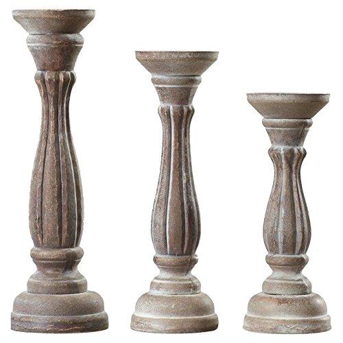 Lark Manor 3 Piece Wood Pillar Candlestick (4' Round Pillar Candle)