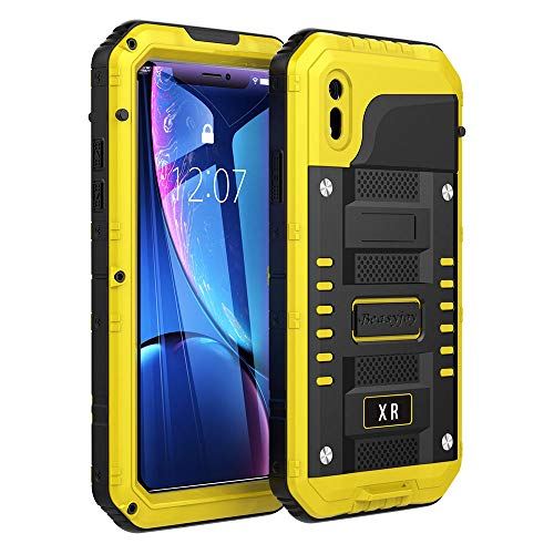 (iPhone XR Case,Beasyjoy Heavy Duty Built-in Screen Full Body Protective Waterproof Shockproof Tough Rugged Hybrid Military Grade Defender Outdoor(Yellow))