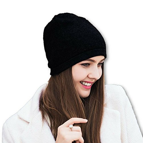 WaySoft Pure 100% Cashmere Beanie for Women in a Gift Box, Oversized Women Beanie Hat, Bring Warm and Luxury to Your Loved Ones, Perfect (Black)