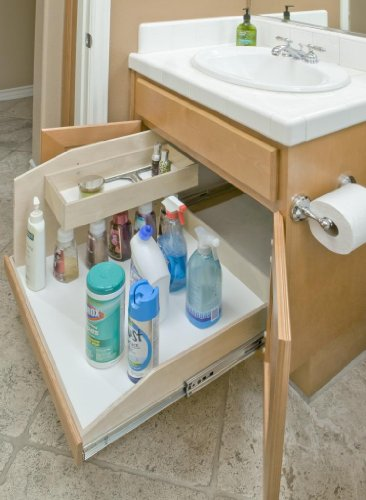 "Slide-A-Shelf SAS-SI-SC-B, Made-To-Fit with Sink Caddy, Full Extension, 6"" to 36"" wide and 16 3/4'' to 24'' deep, Poly-finished Birch Fronts by Slide-A-Shelf"