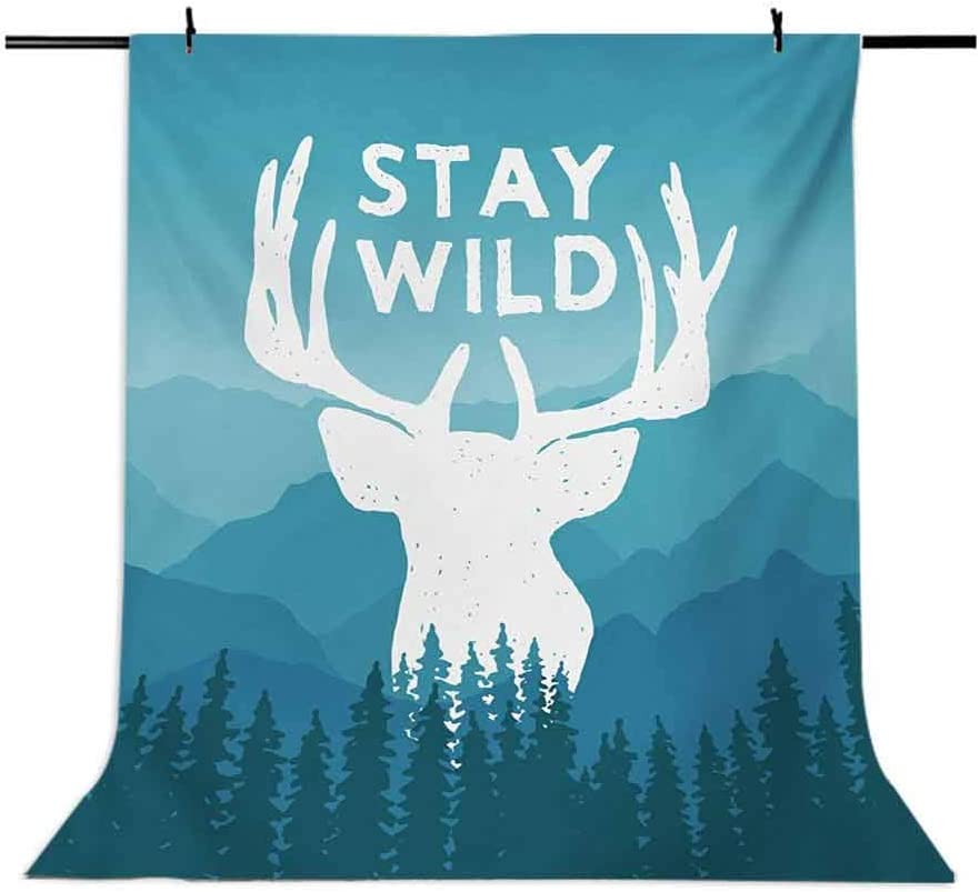 Adventure 10x15 FT Photo Backdrops,Wilderness Themed Stay Wild Quote with Scenic Mountain Backdrop Forest Background for Child Baby Shower Photo Vinyl Studio Prop Photobooth Photoshoot