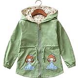 LE CHARME Girls Zip Jacket Winter Lightweight Coat Hooded Outwear Green 3-4Y 110