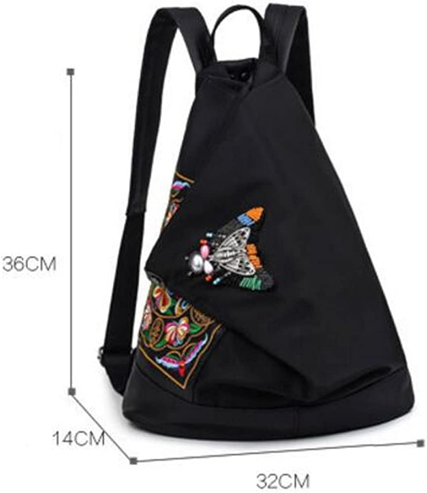RYRYBH Female Ethnic Retro Ethnic Style Backpack Embroidered Shoulder Bag Canvas Satchel Unique Design Backpack Backpack