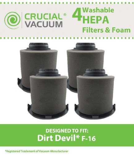 Dirt Devil F-16 Hepa Filter (4 Replacement for Dirt Devil F16 HEPA Style Filter & Foam Pre-filter, Compatible With Part # 1JW1100000 & 2JW1000000, by Think Crucial)