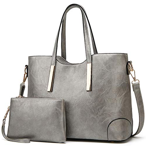Bag Silver Womens - TcIFE Purses and Handbags for Womens Satchel Shoulder Tote Bags Wallets