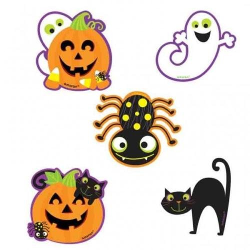 Halloween Character Cutouts (Amscan Cute Halloween Characters Mini Glitter Cut Out Decorations x 10)