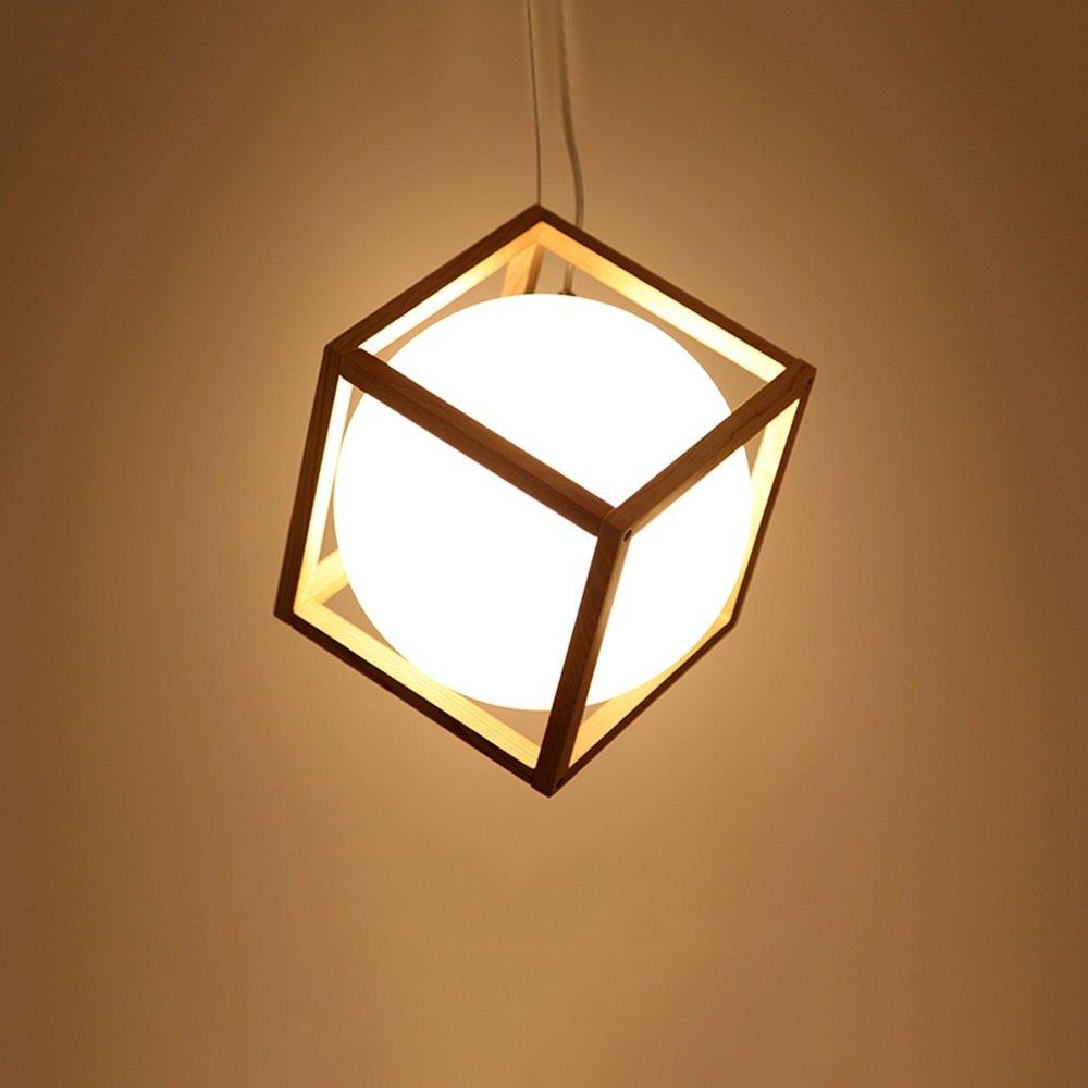 JKL Esszimmer-Quadrat LED-Leuchter des kreativen festen Holzlampenrestaurantbarcafés Wohnzimmer (Größe   B Medium)
