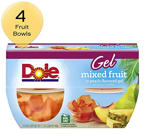 DOLE FRUIT BOWLS, Mixed Fruit in Peach Flavored Gel, 4.3 Ounce (4 ()