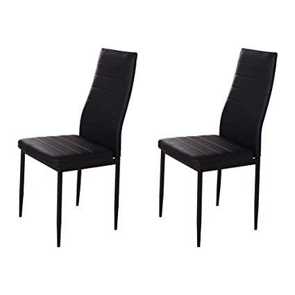 Huiseneu Contemporary Black Kitchen Chairs Sat Of 2 Comfy Dining Room Chairs Set Faux Leather High Back Chairs With Soft Padded Upholstered Chair For