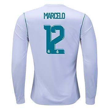 3c832c2e829 2018 La Liga Marcelo Real Madrid Long Sleeve Home Football Soccer Jersey In  White For Men  Amazon.co.uk  Sports   Outdoors