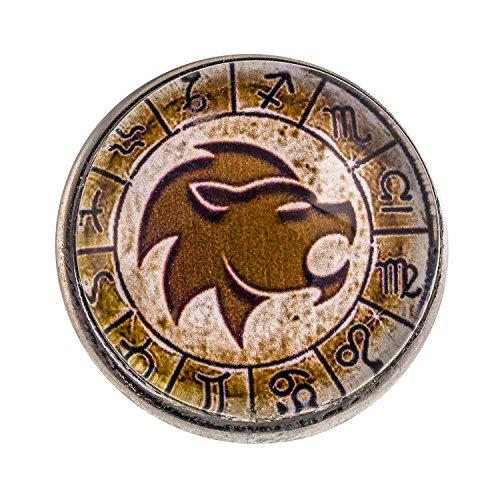 Morella click-button bouton pression unisexe gravé du signe astrologique du lion