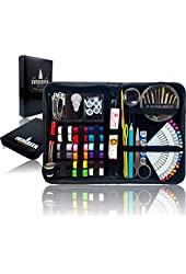 SEWING KIT - THE MOST EXPANSIVE & HIGHEST QUALITY KIT - Includes All You Need & More! Perfect as a Beginner Sewing Kit, Travel Sewing Kit, Campers, Emergency Sewing Kit & More! - Evergreen Art Supply