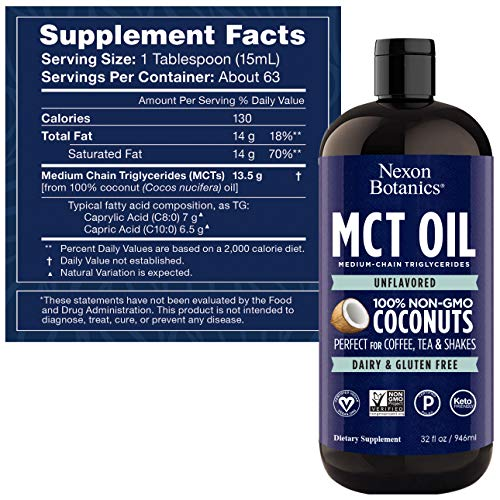 Nexon Botanics Pure Keto MCT Oil 32 oz - Unflavored MCT Coconut Oil from Non GMO Coconuts - Perfect for Coffee - Used in Vegan and Ketogenic Diets - MCT Oil C8 C10 BPA Free
