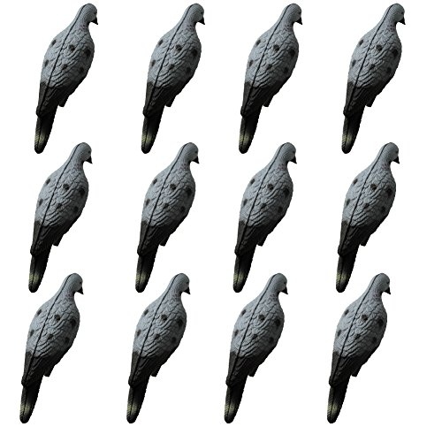 GUGULUZA Dozen Realistic Dove Decoys Pigeon Bird Decoy for Hunting Garden Decorative (Pack of 12)