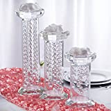 Tableclothsfactory Egyptian Handcrafted Glass Crystal Pillar Vase Chandelier Table Top Wedding Centerpiece - Set of 3 PCS
