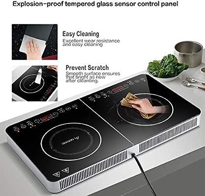 Aobosi placa de inducción, placa de doble inducción, placa portátil, sensor y control superior de cristal, 3500 vatios, función de temporizador