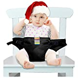 iZiv Washable Portable Travel High Chair Booster Baby Seat with Straps Toddler Safety Harness Baby Feeding Strap 3-36 Month (Black)