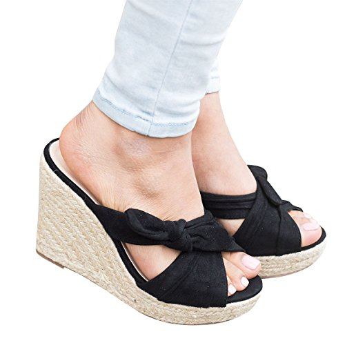 Criss Cross Wedge Sandal - Syktkmx Womens Peep Toe Espadrille Platform Wedges Slip on Heeled Tie Knot Slides Sandals (8 B(M) US, Black)