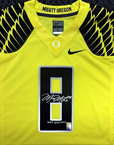wholesale dealer 8997a 84ffd Marcus Mariota Autographed Yellow Nike Jersey Oregon Ducks ...