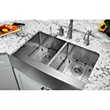 "Soleil 32.88"" x 20.75"" Apron Front 50/50 Undermount Stainless Steel Farmhouse Kitchen Sink with Faucet"