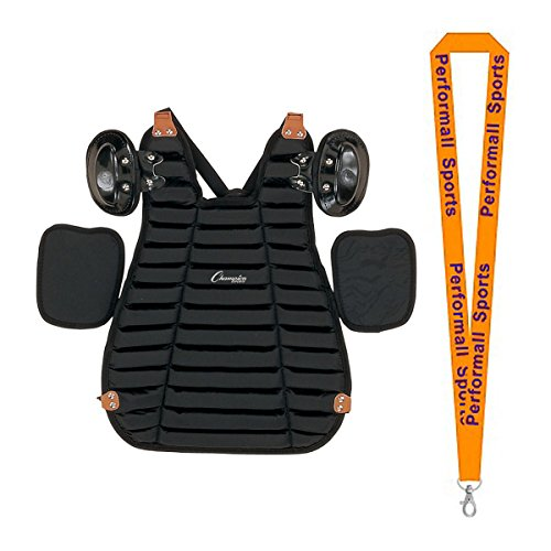 Champion Sports Inside Body Umpire Chest Protector Black Bundle with 1 Performall Lanyard P160-1P by Champion Sports