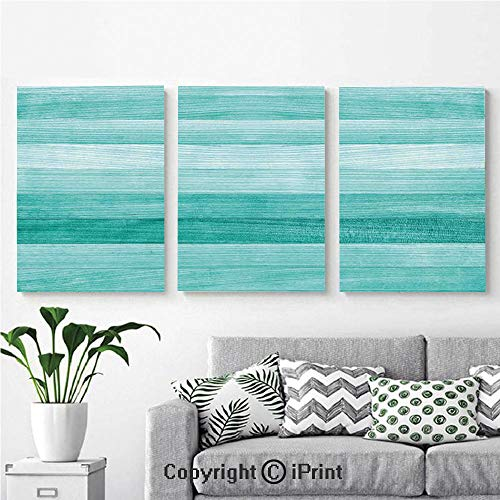 Modern Salon Theme Mural Painted Wood Texture Penal Horizontal Lines Birthdays Easter Holiday Print Backdrop Painting Canvas Wall Art for Home Decor 24x36inches 3pcs/Set, Turquoise ()