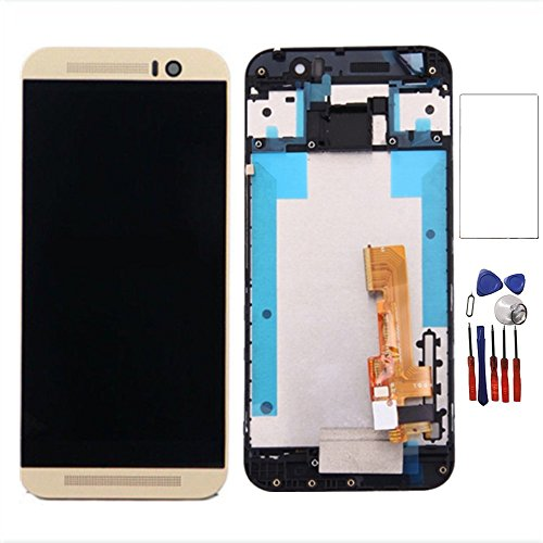 New LCD Display Touch Digitizer Screen Replacement Assembly with Frame for HTC One M9 M9U M9W (Gold)