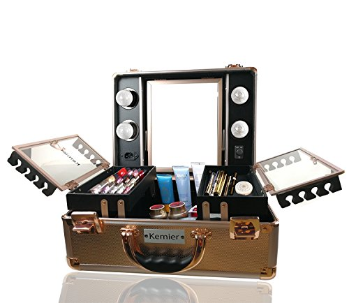 Kemier Makeup Train Case - Cosmetic Organizer Box Makeup Case with Lights and Mirror / Makeup Case with Customized Dividers / Large Makeup Artist Organizer Kit- Rose Gold by Kemier