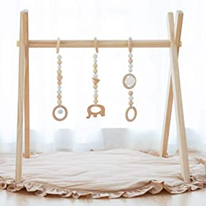 Avrsol Baby Gym with Mat Wooden Infant Activity Gym Baby Play Gym Frame Hanging Bar, Baby Newborn Gift - New Version