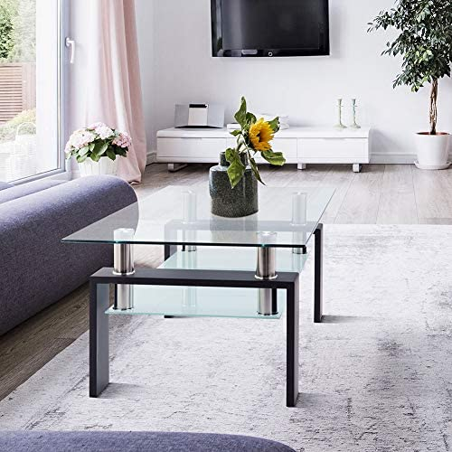 Glass Coffee Table, Modern Clear Coffee Table with Metal Legs, Glass Coffee Table for Living Room and Office with 2 Layers, Easy to Assemble, W39.4 D23.7 H17.7