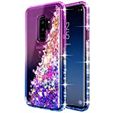 Galaxy S9 Plus Case w/[Full Cover Screen Protector Premium Clear], NageBee Glitter Liquid Quicksand Waterfall Flowing Sparkle Bling Diamond Cute Case Designed for Samsung Galaxy S9 Plus -Purple/Blue