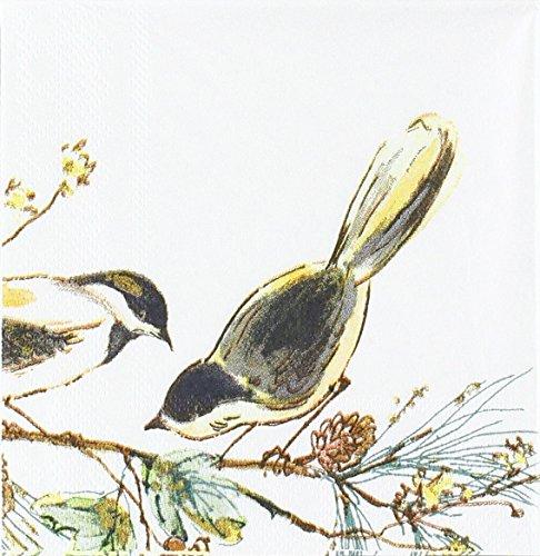 Lenox Winter Song Chickadee Disposable Cocktail Napkins, 5.5'' W x 5.5'' L, 20pcs