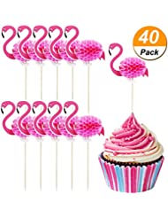 TecUnite 40 Pack Flamingo Cupcake Toppers Cocktail Picks Flamingo Cake Decoration for Luau Hawaii Birthday Wedding Beach Party