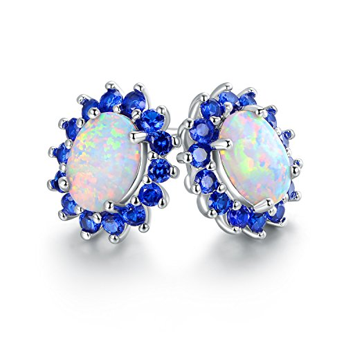 Barzel 18K White Gold Plated Created Opal Flower Stud Earrings (Blue) ()
