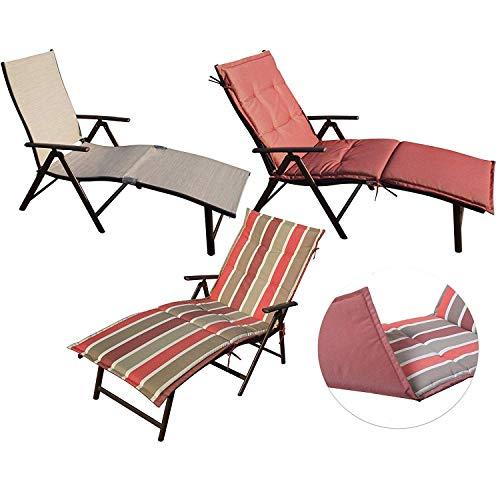 Kozyard Cozy Aluminum Beach Yard Pool Folding Reclining Adjustable Chaise Lounge Chair (Beige with Red Cushion)