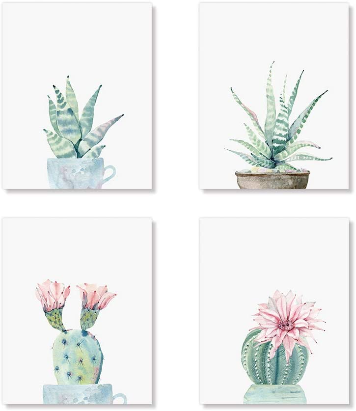 Potted Cactus Art Prints, Cactus Flower Botanical Wall Art Set of 4 Unframed 8x10 inches