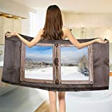 smallbeefly Rustic Bath Towel Winter Season Scene from a Wooden Window of Country House Snow Vintage Design Bathroom Towels Umber White Blue Size: W 27.5'' x L 69''