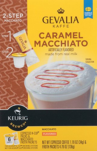 Gevalia, 2-Step K-Cup & Froth Packets, 6 Count, 5.6oz Box (Pack of 3) (Caramel Macchiato)