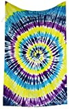 Amitus Exports(TM Premium Quality 1 X Indian Hand Tie Dye Multi Tie Dye Color Size 78''X52'' (Approx.) Inches Indian Mandala Tapestry Thin Cotton Fabric Throws (Handmade in India)