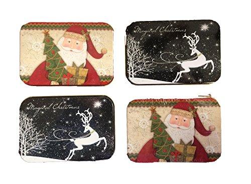 [해외]크리스마스 선물 카드 소지자 주석 상자 산타 순록 4 팩/Christmas Gift Card Holders Tin Box Santa Reindeer 4 Pack