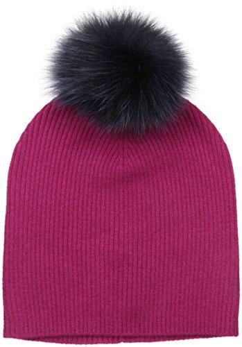 Sofia Cashmere Women's 100% Cashmere Slouchy Beanie With Dyed Fox Fur Pom, Berry, One by Sofia Cashmere