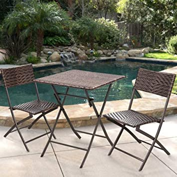 Tuoze Patio Furniture Sets PE Wicker Rattan Outdoor Set All-Weather Patio Garden Lawn Conversation Set Brown 3 Pieces