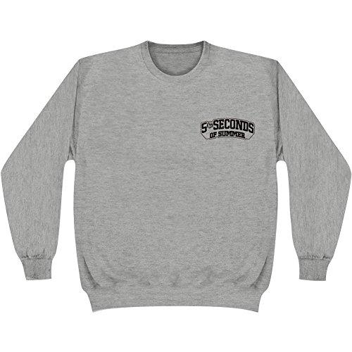 5 Seconds Of Summer Skull Logo Crewneck Pullover Sweatshirt - Heather Grey (Medium)
