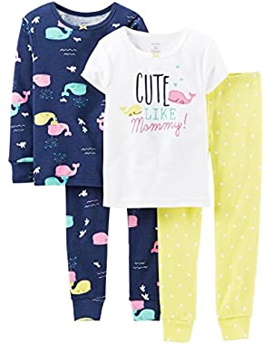 Baby Girls' 4 Piece PJ Set (Baby) - Cute Like Mommy